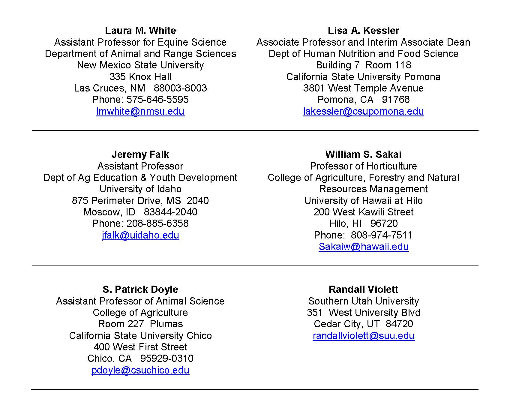 Western Ambassadors updated Aug 2015